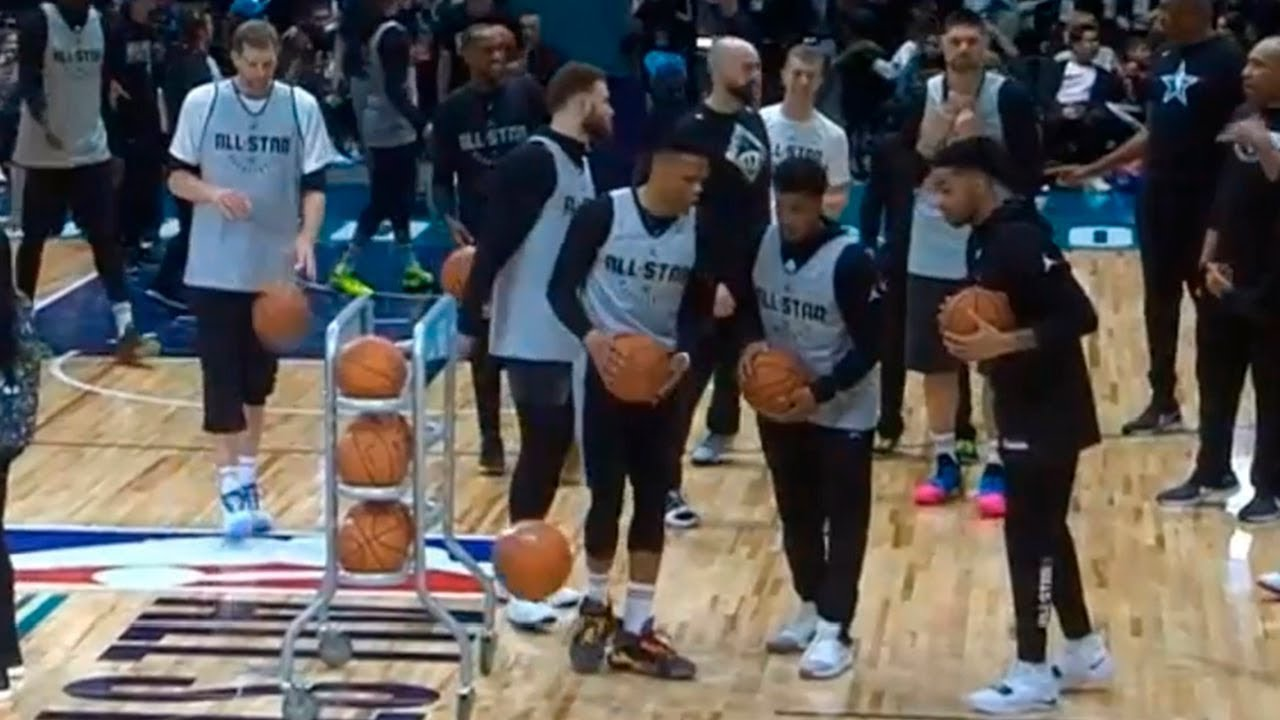 55f9f95c651 Team Giannis Half Court Shots | 2019 NBA All-Star Practice - YouTube