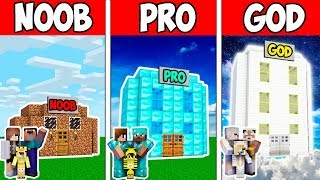 Minecraft Noob Vs Pro Vs God Family Block Hotel Craft Adventure In Minecraft  Animation