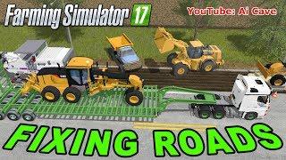 Farming Simulator 2017 Mods Fixing Roads - MERCEDES ACTROS, CATERPILLAR 140M and 980K
