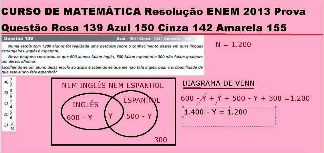 Diagrama de venn matemtica resoluo enem 2013 questo rosa 139 diagrama de venn matemtica resoluo enem 2013 questo rosa 139 azul 150 cinza 142 amarela 155 ccuart Choice Image