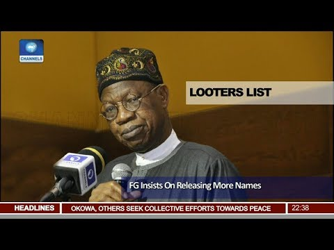 FG Insists On Releasing More Names Pt.3 |News@10| 15/04/18