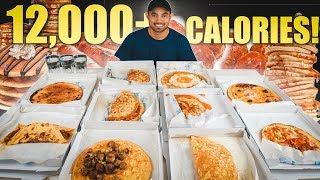EPIC 12,000 Calorie PANCAKE CHALLENGE | Weirdest Tasting Pancakes EVER