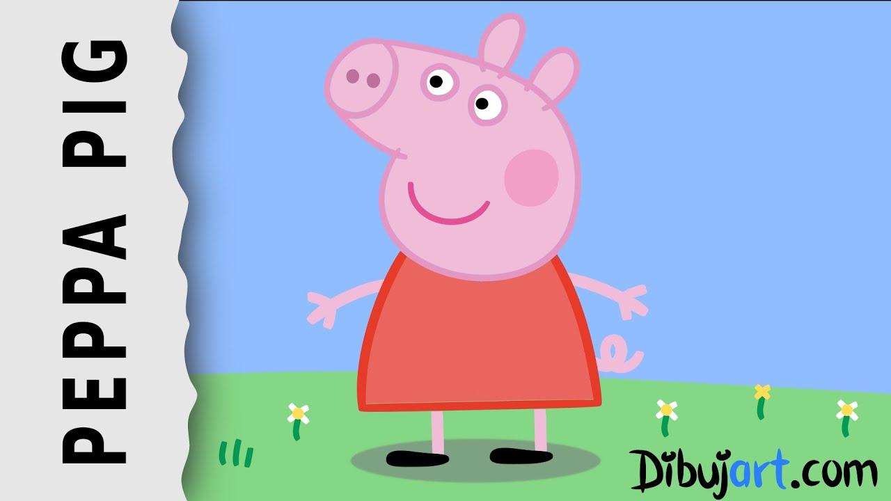 How to draw Peppa Pig step by step  Wie zeichnet man Peppa Pig