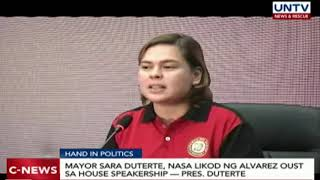 Mayor Sara Duterte, nasa likod ng Alvarez oust sa House speakership – Pres. Duterte