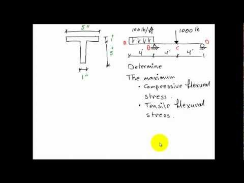English - Finding Compressive and Tensile Flexural Stresses for a T-Beam
