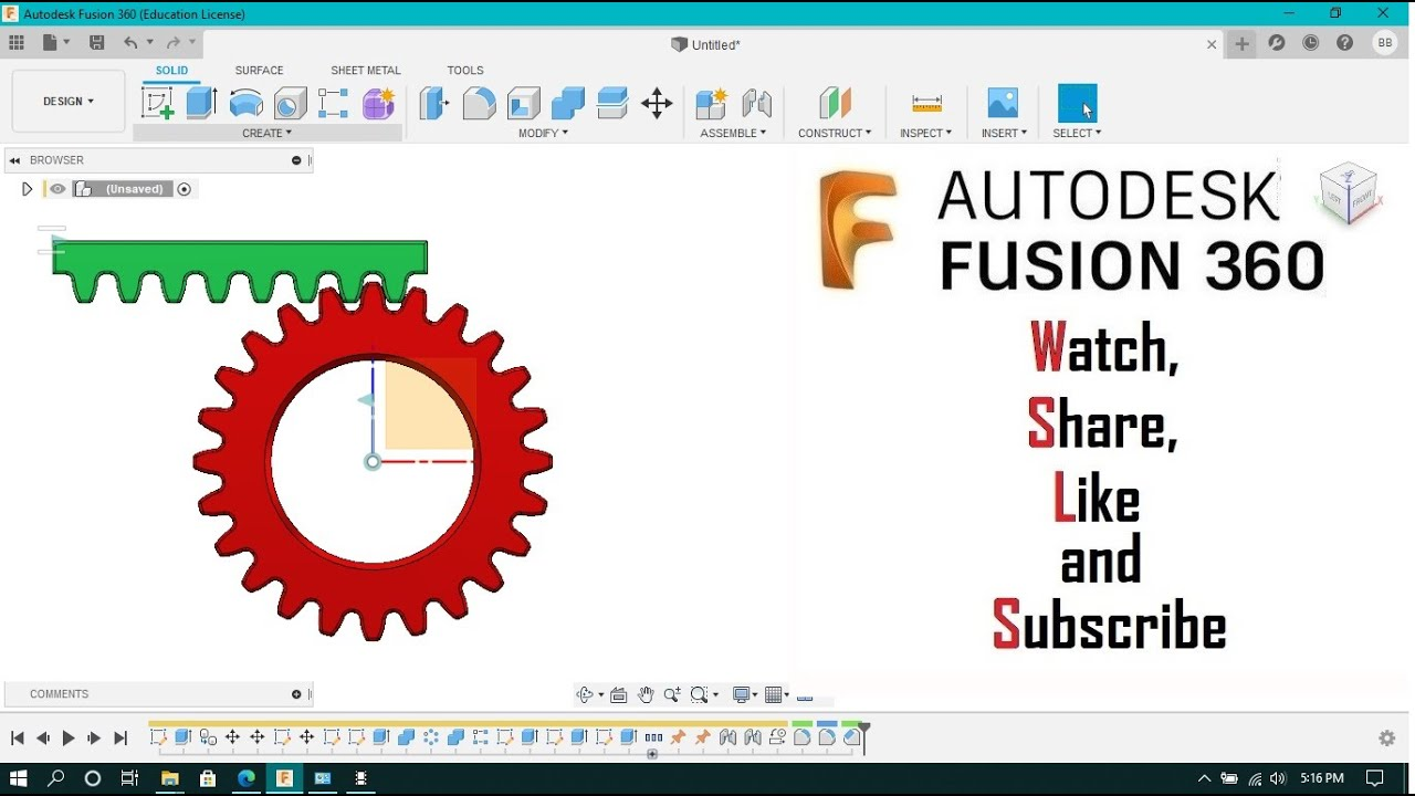 rack and pinion gear in autodesk fusion 360