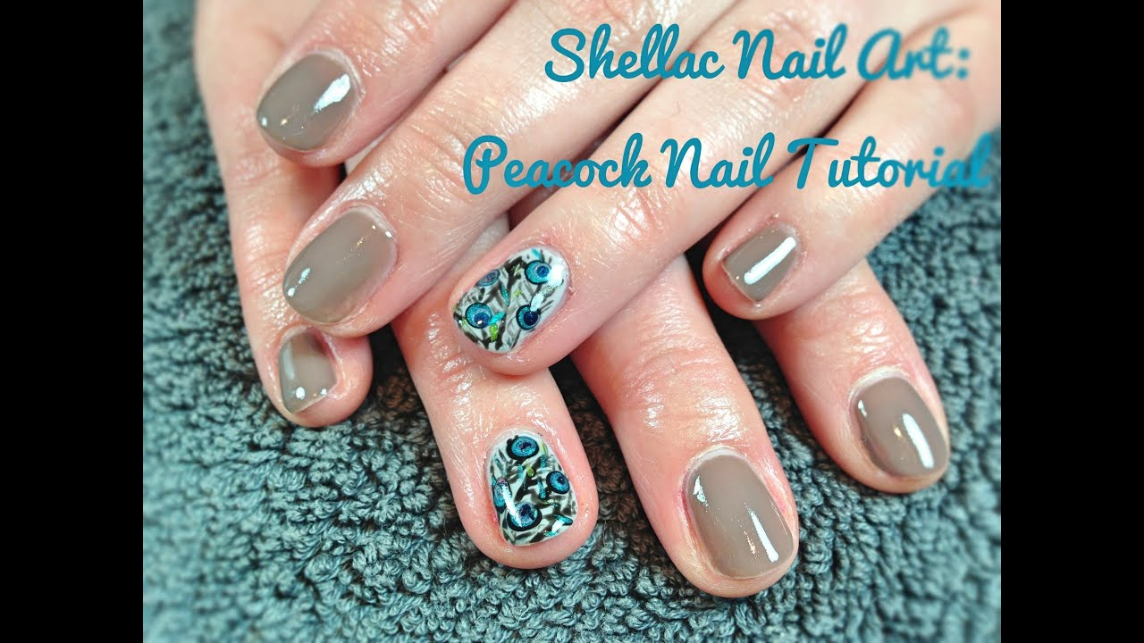 Shellac nail art peacock nail tutorial youtube prinsesfo Choice Image