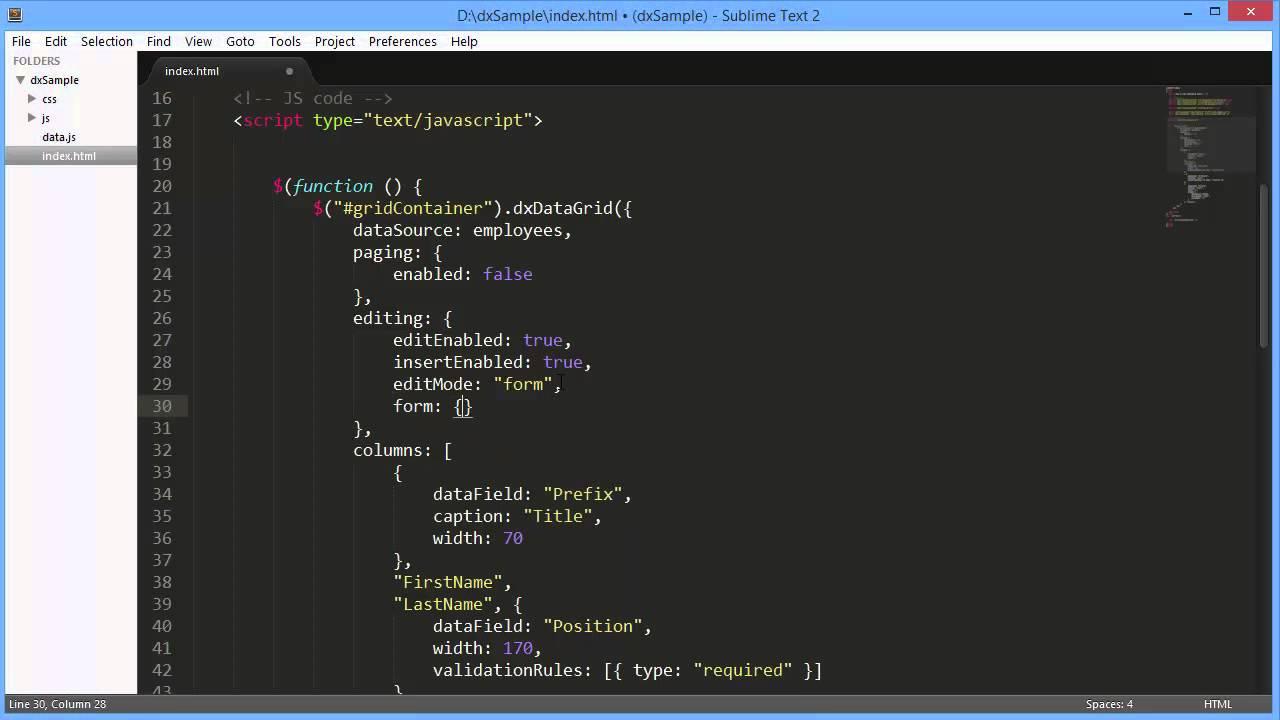 DevExpress DevExtreme: dxDataGrid Edit Form