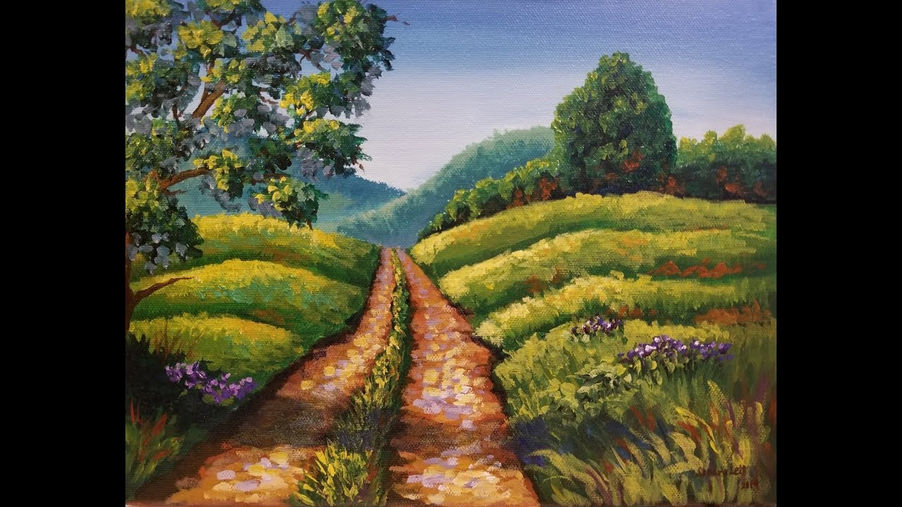(349) COUNTRY ROAD LANDSCAPE Tutorial on Thinkific with Sandra Lett 080119