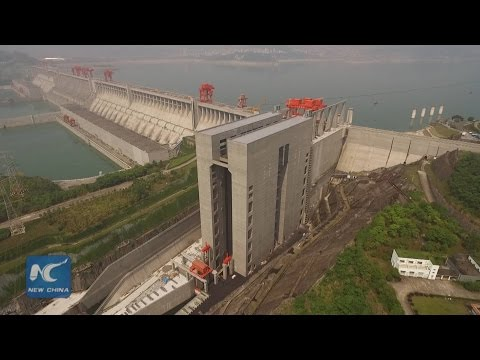 Exclusive aerial view: world's largest shiplift at China's Three Gorges Dam