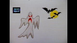 Рисую ПРИВИДЕНИЕ И ЛЕТУЧИХ МЫШЕЙ НА ХЭЛЛОУИН/205/Draw a GHOST and BATS ON HALLOWEEN
