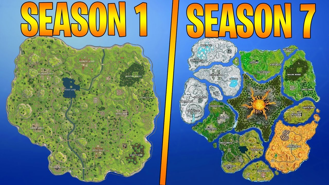 Evolution Of The Entire Fortnite Island Season 1 7 Youtube