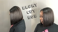 HOW TO : Blunt bob cut   Sew-in   Leave out
