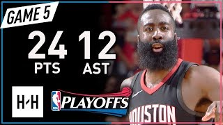 James Harden Full Game 5 Highlights Rockets vs Timberwolves 2018 Playoffs - 24 Pts, 12 Assists!