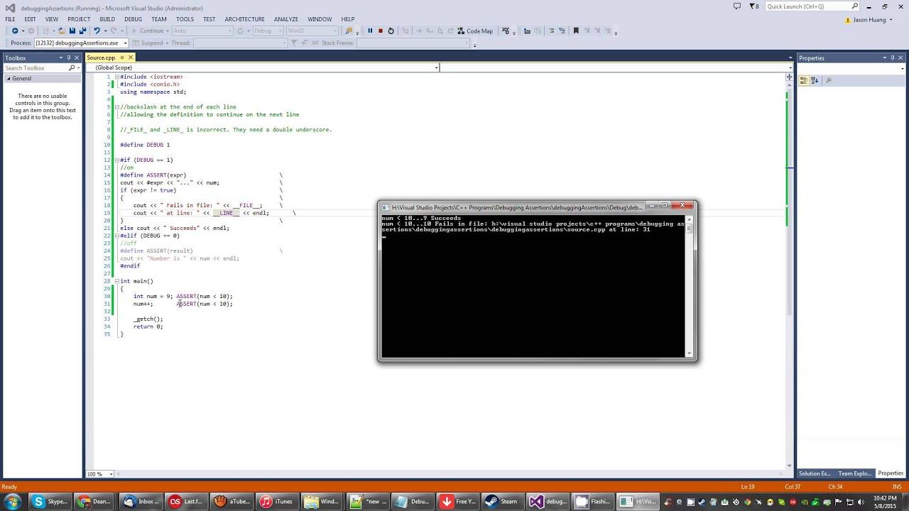 c++ Debugging Assertions