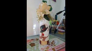 Reciclado de botella decorada de navidad