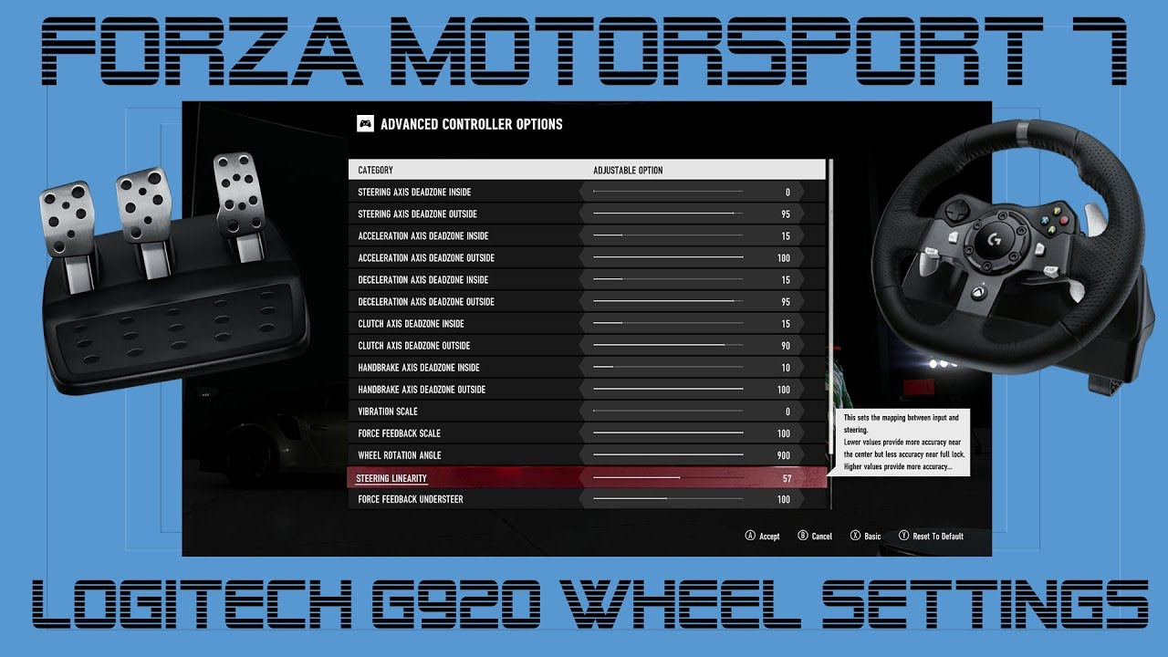 Logitech G920 Settings Forza Motorsport 7 Youtube
