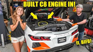 TWIN TURBO C8's BUILT ENGINE IS IN! *FREE THE HP* ft. B is for Build