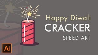 Happy Diwali | Crackers | Vector Drawing in Adobe Illustrator| Speedart