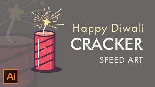 Happy Diwali   Crackers   Vector Drawing in Adobe Illustrator  Speedart