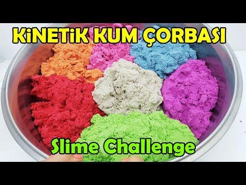 Kinetik Kum Çorbası   Eğlenceli Slime Challenge Videosu