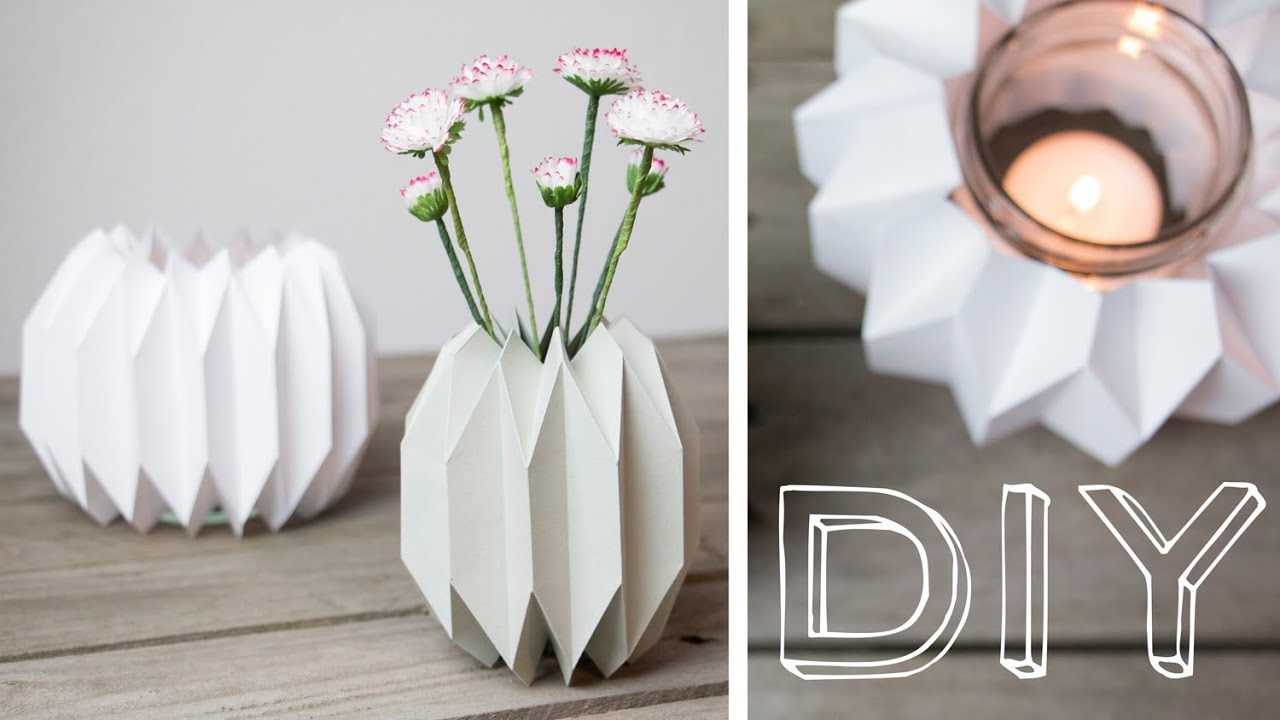 diy geometrische vase windlicht im origamidesign falten youtube. Black Bedroom Furniture Sets. Home Design Ideas