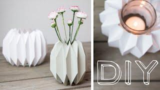 DIY - geometrische Vase & Windlicht im Origamidesign falten