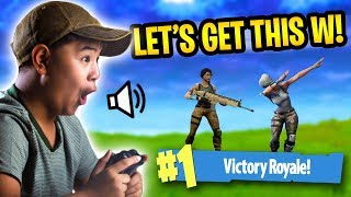 LITTLE KID TRIES TO GET HIS FIRST WIN! *VOICE TROLLING!* | Fortnite Battle Royale