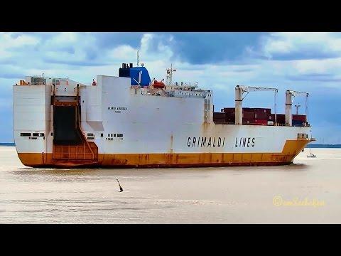 car & container carrier GRANDE AMBURGO IBMW IMO 9246607 Emden cargo seaship merchant vessel Autotran