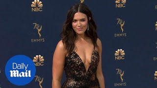 Taking the plunge! Mandy Moore arrives in style at 2018 Emmys