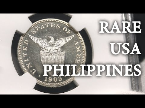 Rare USA-Philippines Coins, MS66 Red and Proof 20 Centavos