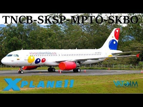 X-Plane 11 | Viva Colombia & Panama!! | TNCB-SKSP-MPTO-SKBO | FFA320 |  VATSIM | World Tour Ep 3