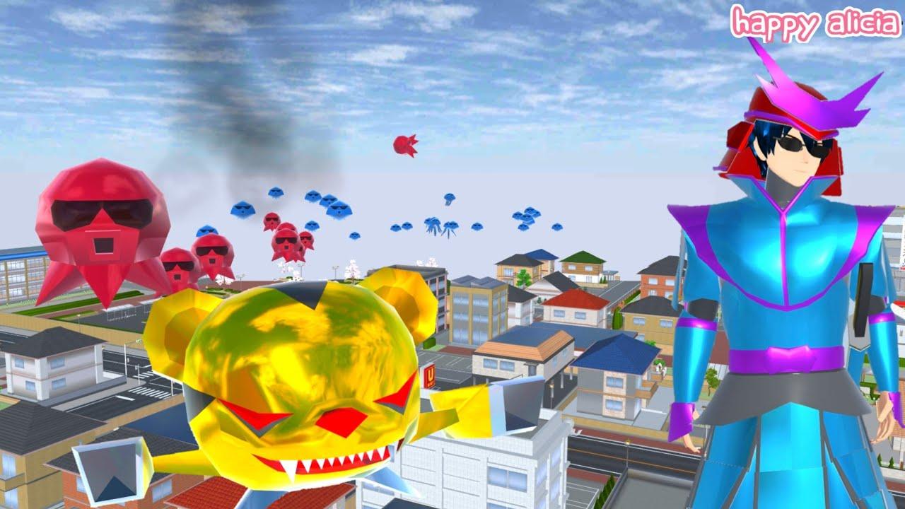 Takagi VS Alien UFO Beruang Sultan Dan Sotong Bakso🤣😱👽   Sakura School Simulator   Happy Alicia