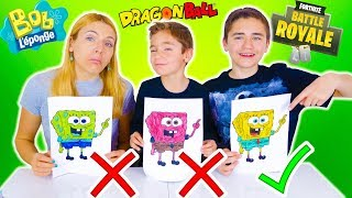 3 MARKER CHALLENGE #3! -Mother VS son: Fortnite, Sponge Bob, Dragon Ball...