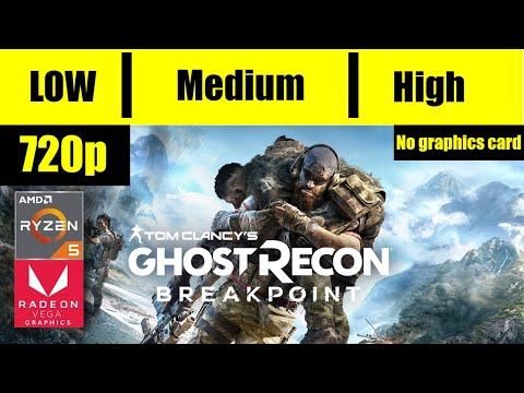 Ghost Recon Breakpoint Ryzen 5 3400G VEGA 11 16GB 2666Mhz RAM 720p Low Medium High  