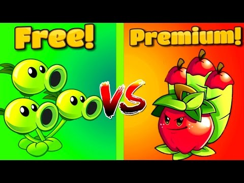 PVZ Free vs Premium ⇒Plants vs Zombies 2 APPLE MORTAR Vs THREEPEATER