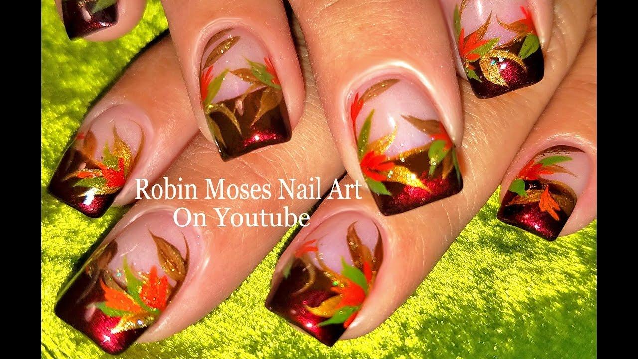 Fall leaf Nails | DIY Easy Autumn Leaves Nail Art Design Tutorial ...