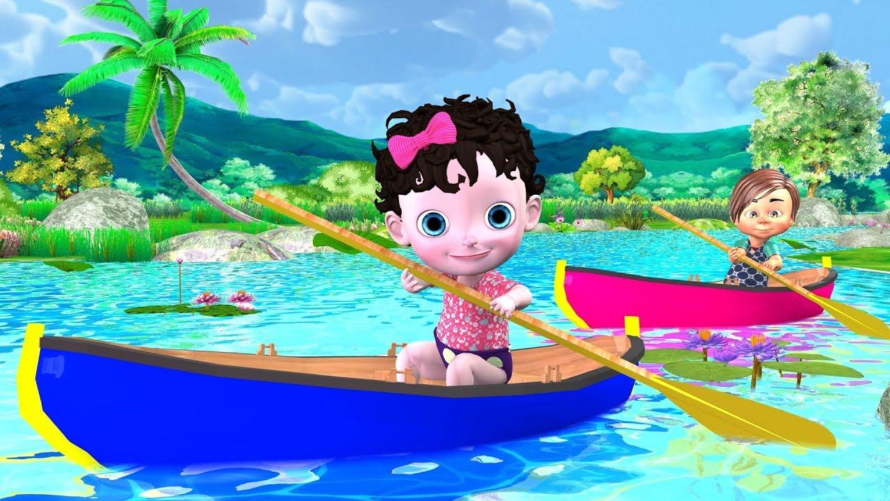 Row Row Row Your Boat Song - Cartoon Nursery Rhymes & Kids Songs - Funny Baby Rhymes