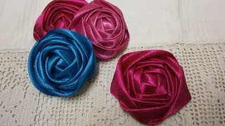 DIY ribbon rose tutorial,How to,fabric flowers,easy – the flower art – English