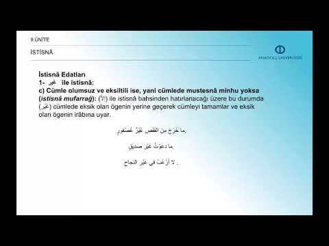 ARAPÇA IV - Ünite 9 Özet