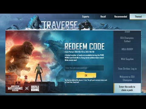 New Reedem Codes Godzilla Vs Kong PUBG Mobile