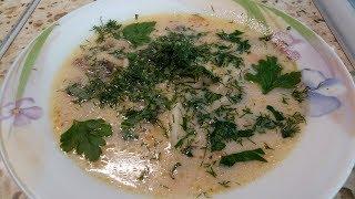 Суп грибной с шампиньонами и плавленным сыром