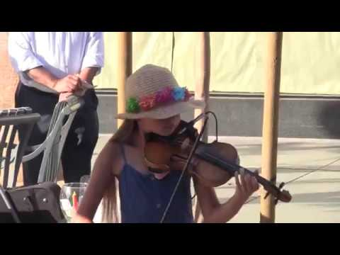 Beautiful Young Girl Plays Violin on the Street thumbnail