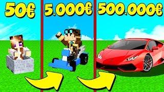 AUTO DA 50 EURO contro AUTO DA 500.000 EURO su MINECRAFT!