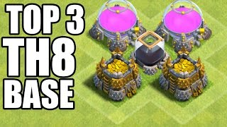 Clash of Clans - Top 3 Best Town hall 8 (Th8) Farming Base & Hybrid Base + DEFENSE REPLAYS