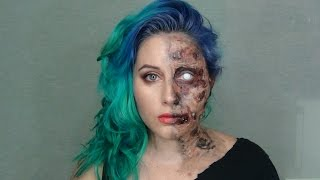 Tutorial maquillaje cara quemada / dos caras. Burnt Face / Two face  makeup tutorial