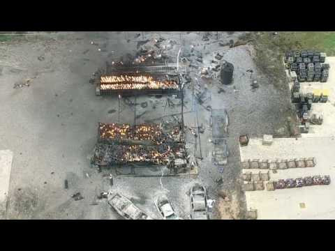 Drone Video Shows Explosions During Fire at Welding Business in Tyler, Texas