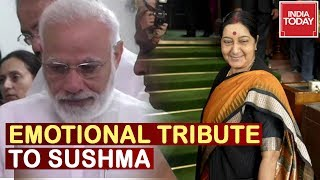 Lunch Break : Leaders Pay Emotional Tribute To Sushma Swaraj, PM Modi Left Teary Eyed