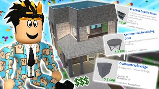 building a bloxburg house with EXPENSIVE ITEMS ONLY... oh no not again