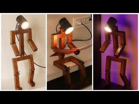 Homemade Wooden Desk Lamp    DIY Articulated Desk Lamp